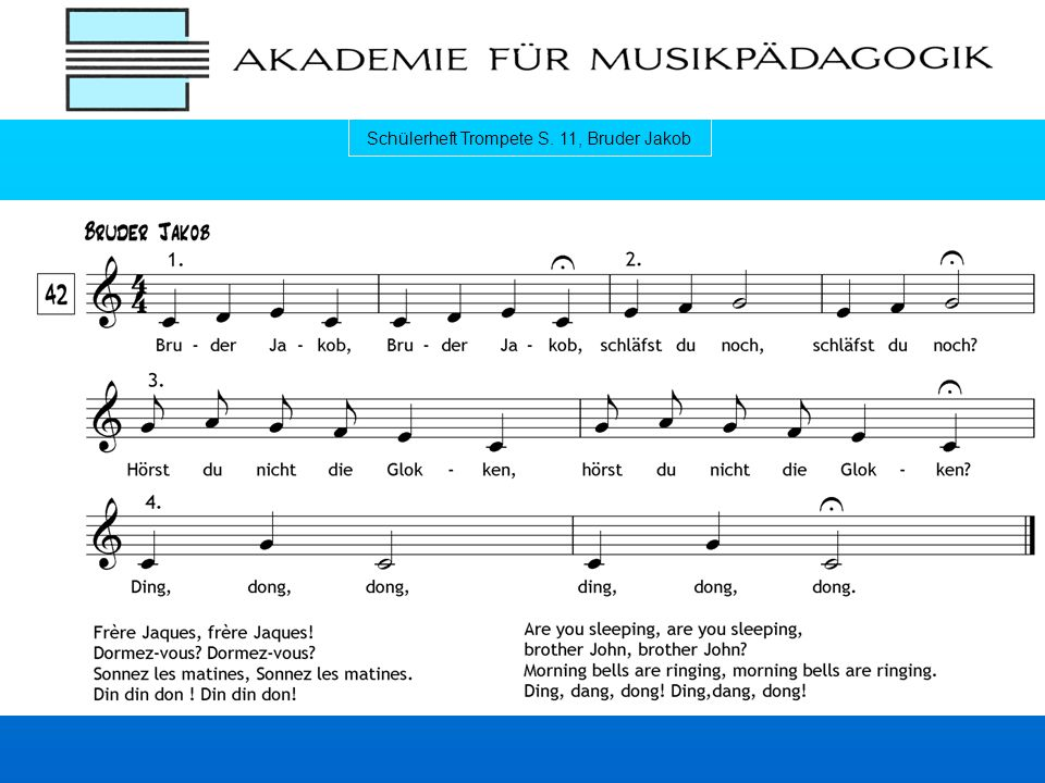 Schülerheft Trompete S. 11, Bruder Jakob