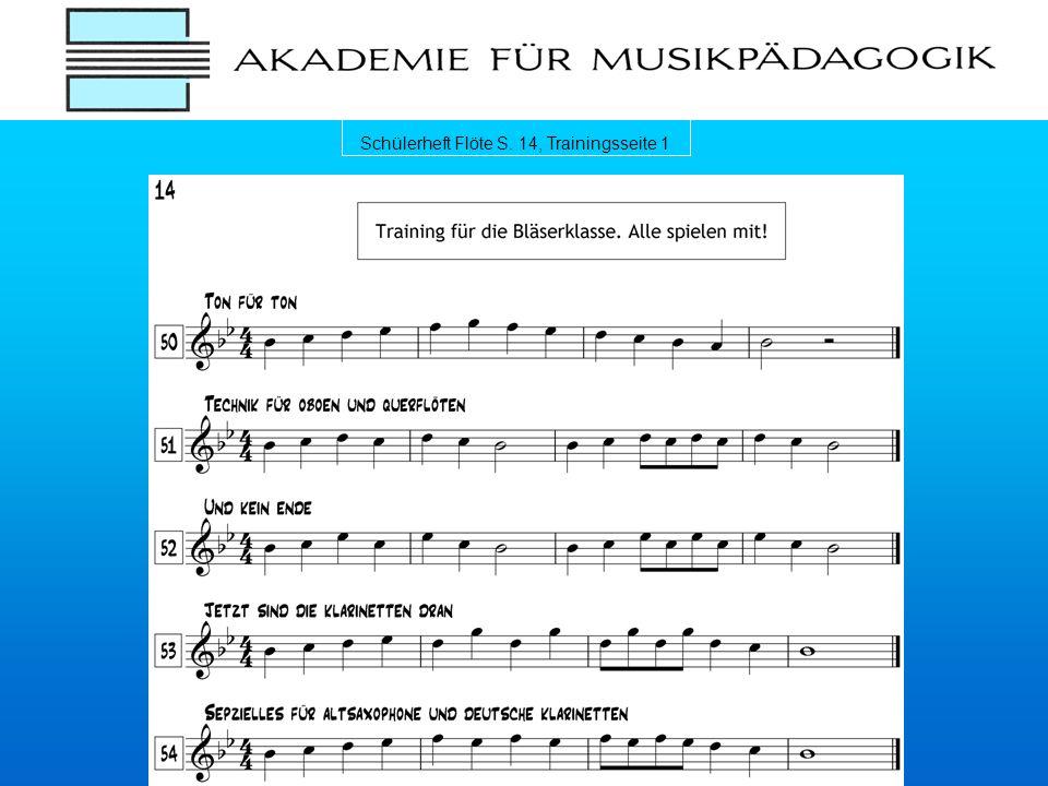 Schülerheft Flöte S. 14, Trainingsseite 1