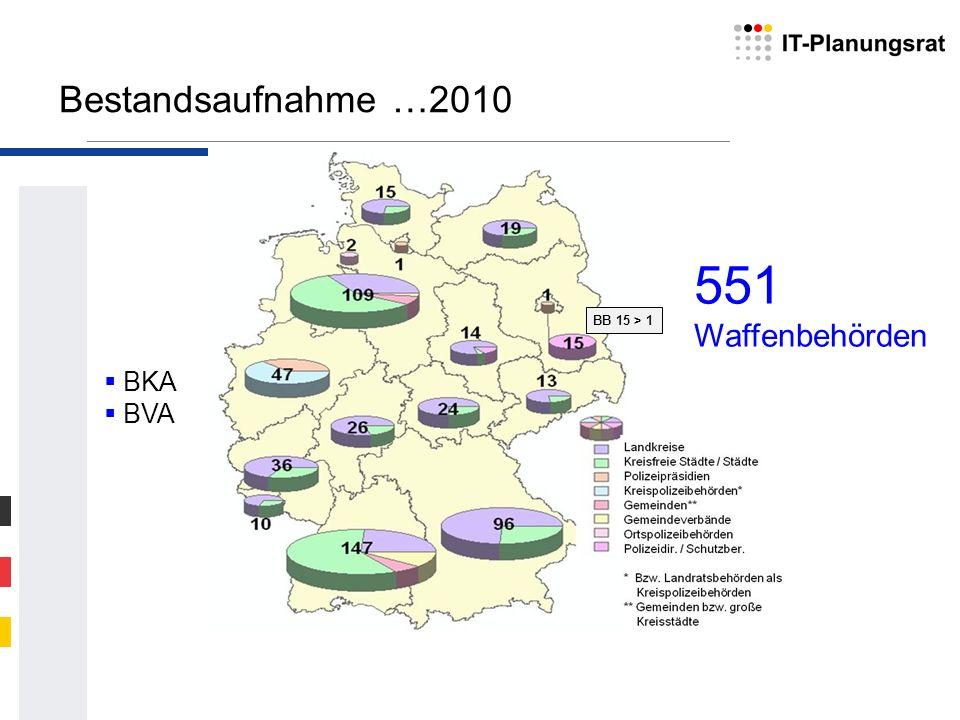 Bestandsaufnahme …2010 551 Waffenbehörden BB 15 > 1 BKA BVA