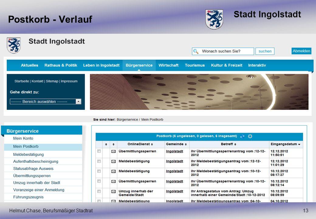 Postkorb - Verlauf Helmut Chase, Berufsmäßiger Stadtrat 13