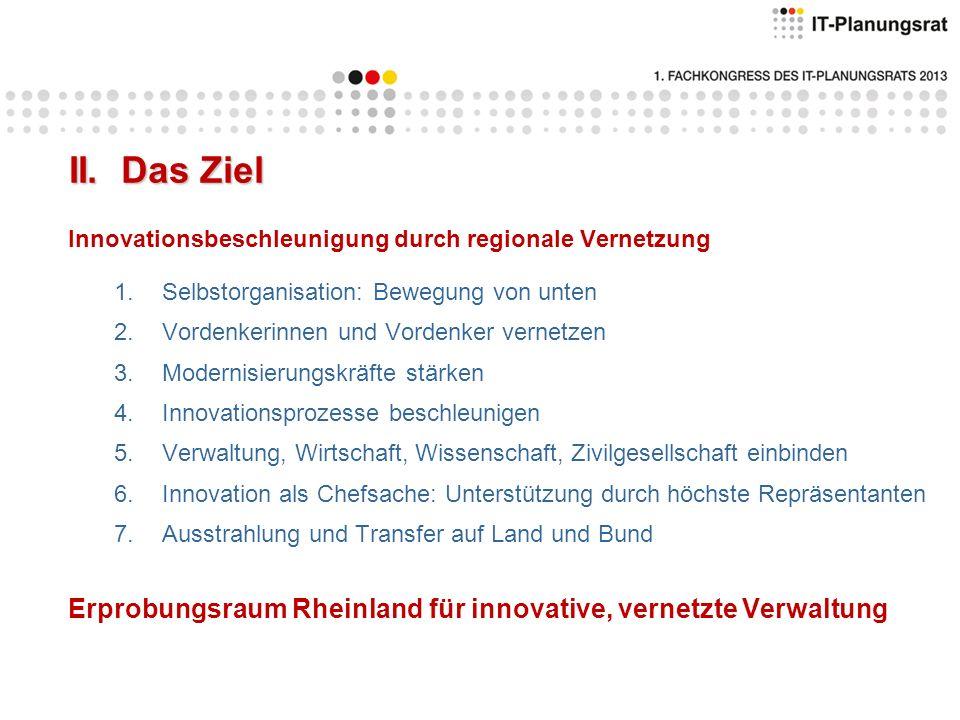 II. Das Ziel Innovationsbeschleunigung durch regionale Vernetzung. Selbstorganisation: Bewegung von unten.