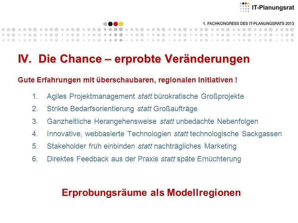 IV. Die Chance – erprobte Veränderungen