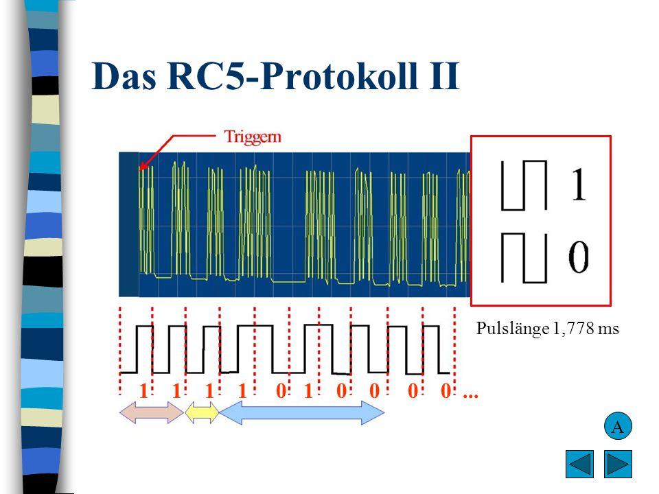 Das RC5-Protokoll II Pulslänge 1,778 ms 1 1 1 1 0 1 0 0 0 0 ... A