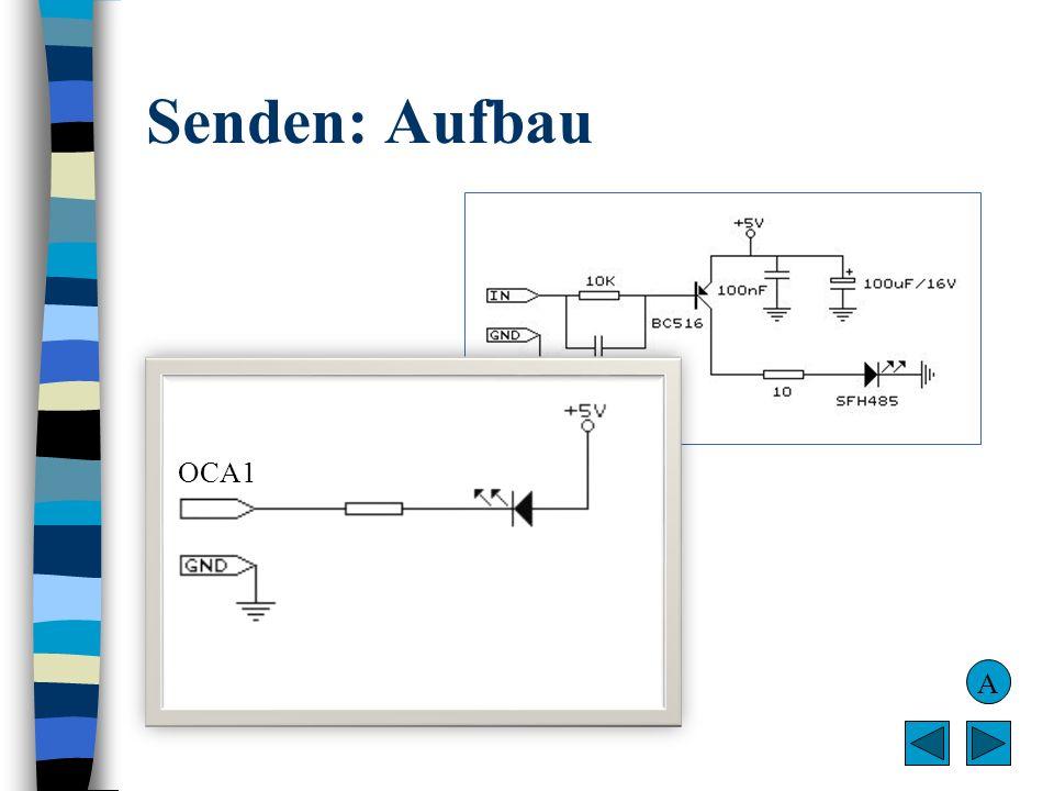 Senden: Aufbau OCA1. BASCOM-Beschaltung (im Hintergrund) mit Darlington-Transistor soll für hohe Leistung/Reichweite sorgen.