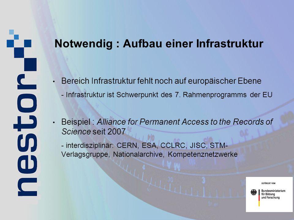 Notwendig : Aufbau einer Infrastruktur