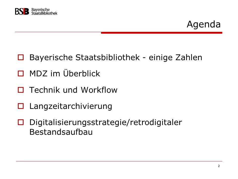 Agenda Bayerische Staatsbibliothek - einige Zahlen MDZ im Überblick