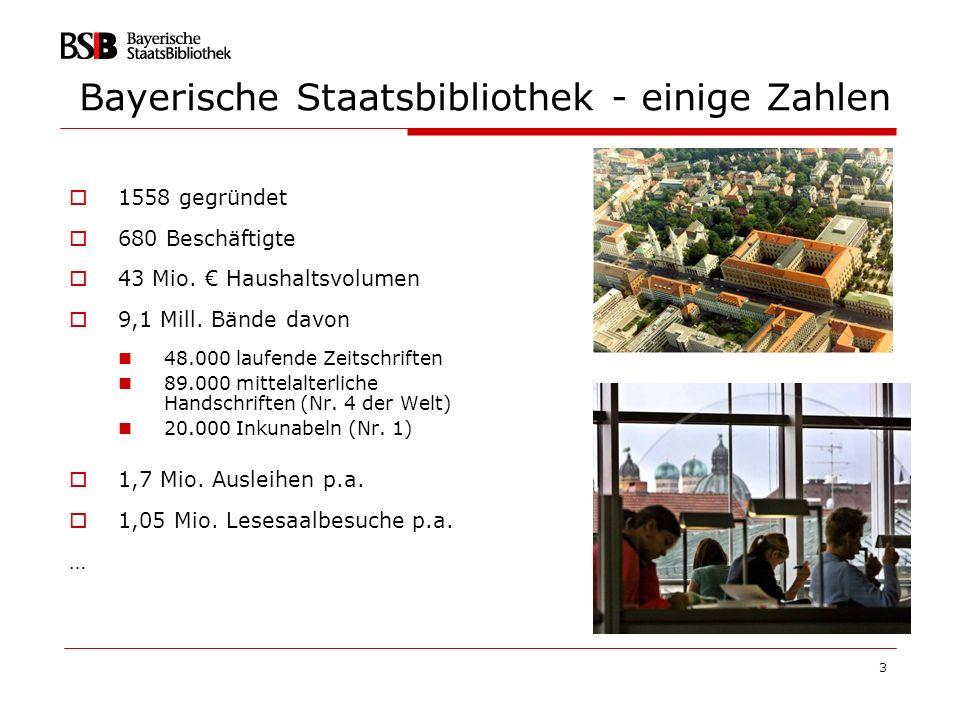 Bayerische Staatsbibliothek - einige Zahlen