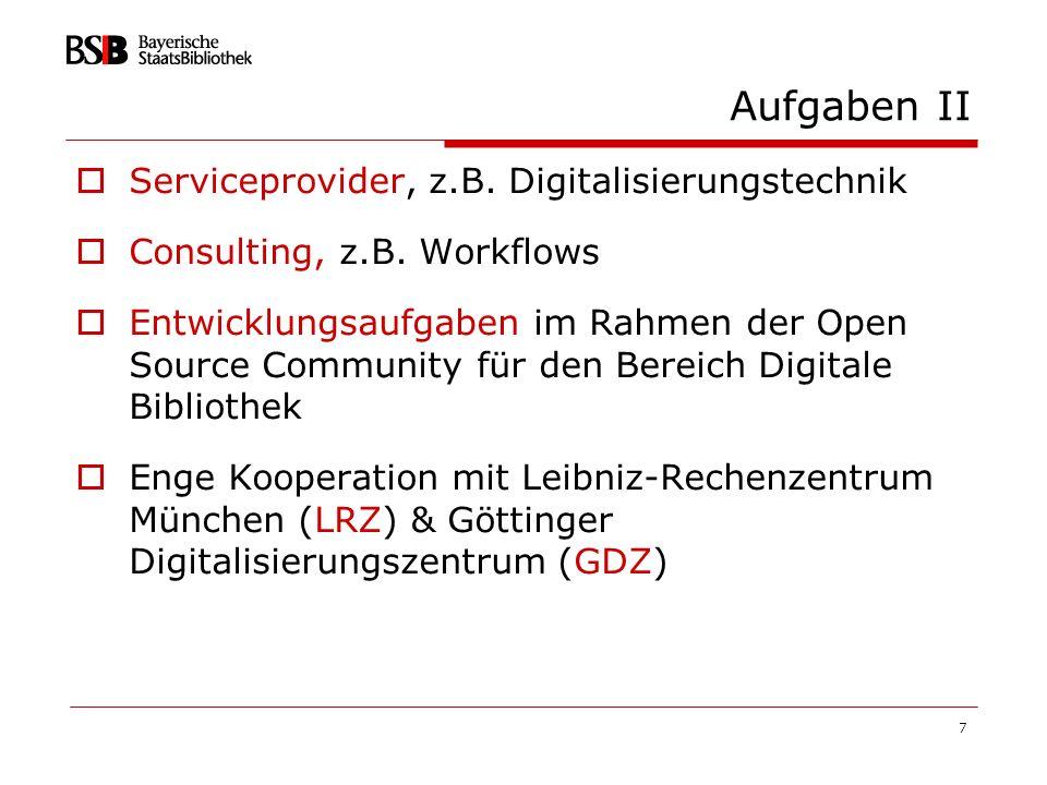 Aufgaben II Serviceprovider, z.B. Digitalisierungstechnik