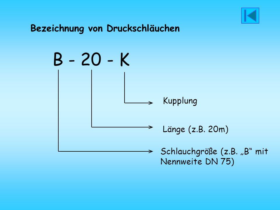 B - 20 - K Bezeichnung von Druckschläuchen Kupplung Länge (z.B. 20m)