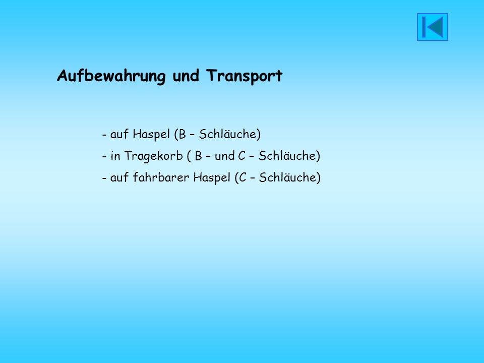 Aufbewahrung und Transport