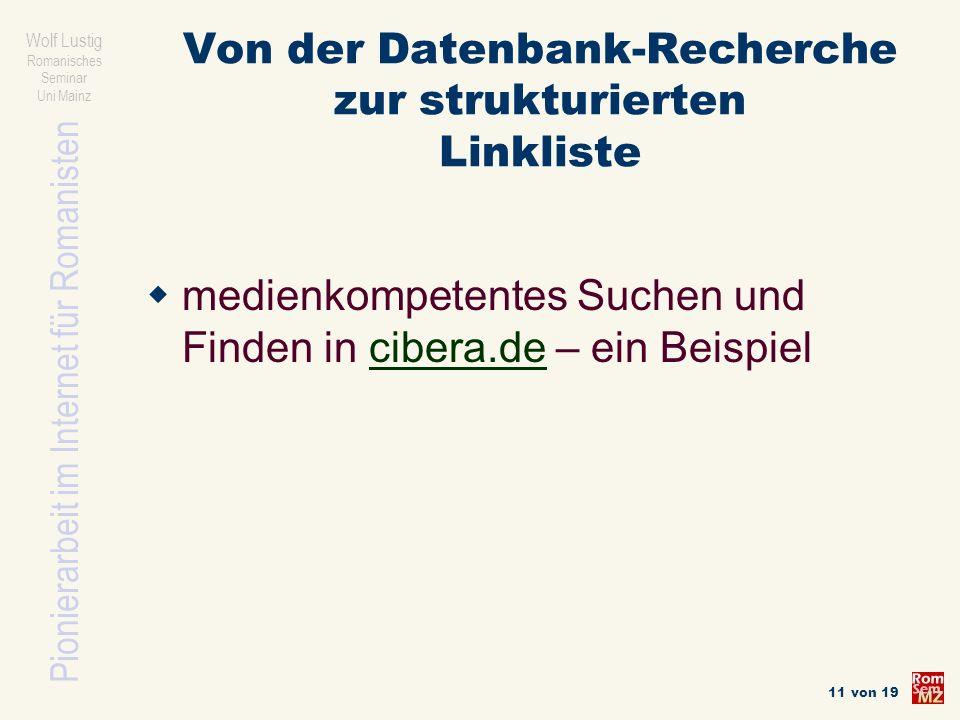 Von der Datenbank-Recherche zur strukturierten Linkliste