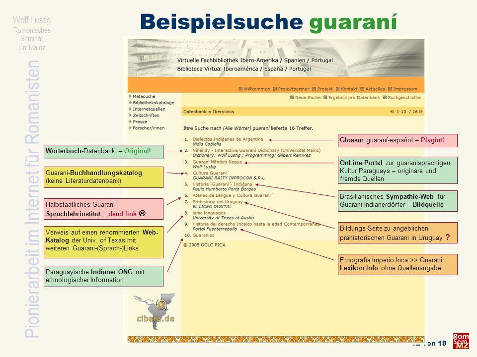 Beispielsuche guaraní