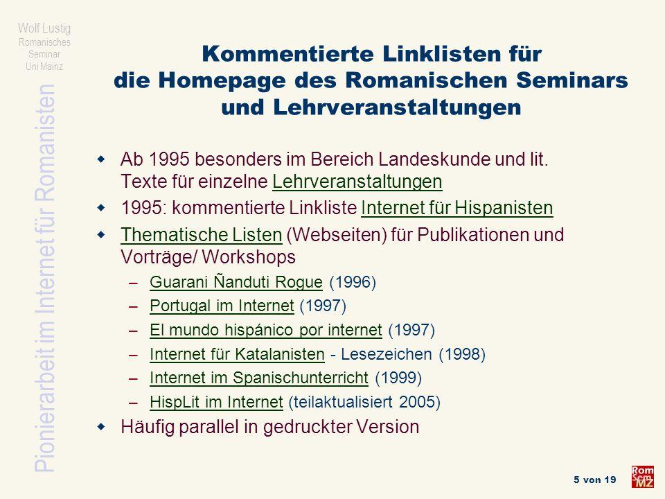 Wolf Lustig Romanisches Seminar Uni Mainz