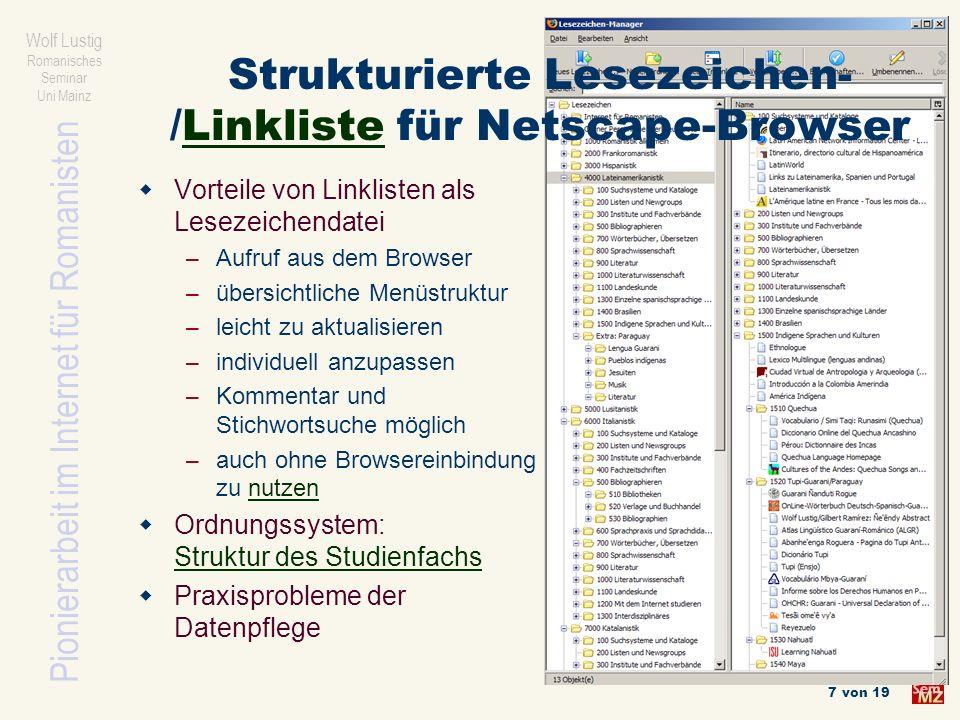 Strukturierte Lesezeichen-/Linkliste für Netscape-Browser