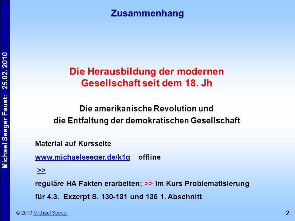 Die Herausbildung der modernen Gesellschaft seit dem 18. Jh