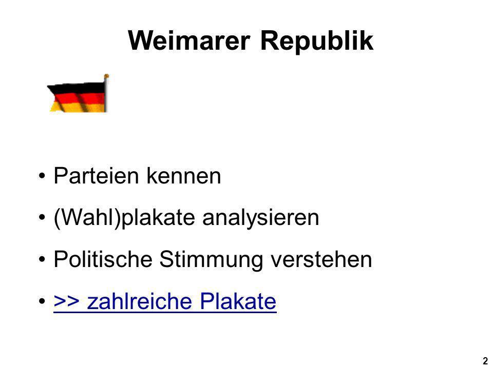 Weimarer Republik Parteien kennen (Wahl)plakate analysieren