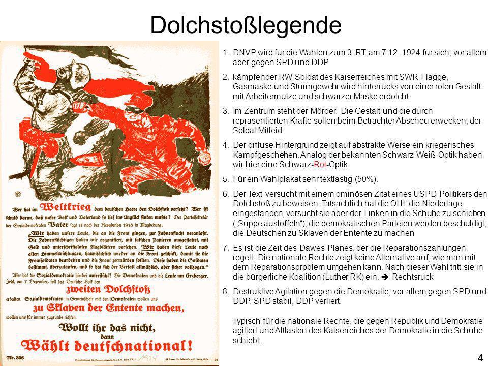 Dolchstoßlegende DNVP wird für die Wahlen zum 3. RT am 7.12. 1924 für sich, vor allem aber gegen SPD und DDP.