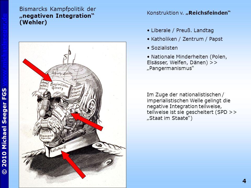 """Bismarcks Kampfpolitik der """"negativen Integration (Wehler)"""