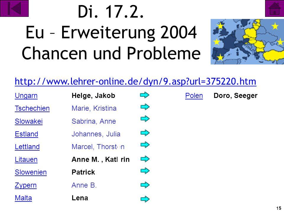 Di. 17.2. Eu – Erweiterung 2004 Chancen und Probleme