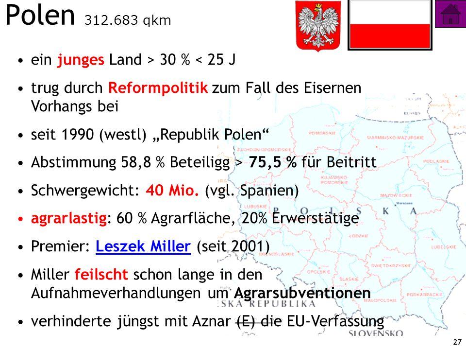 Polen 312.683 qkm ein junges Land > 30 % < 25 J