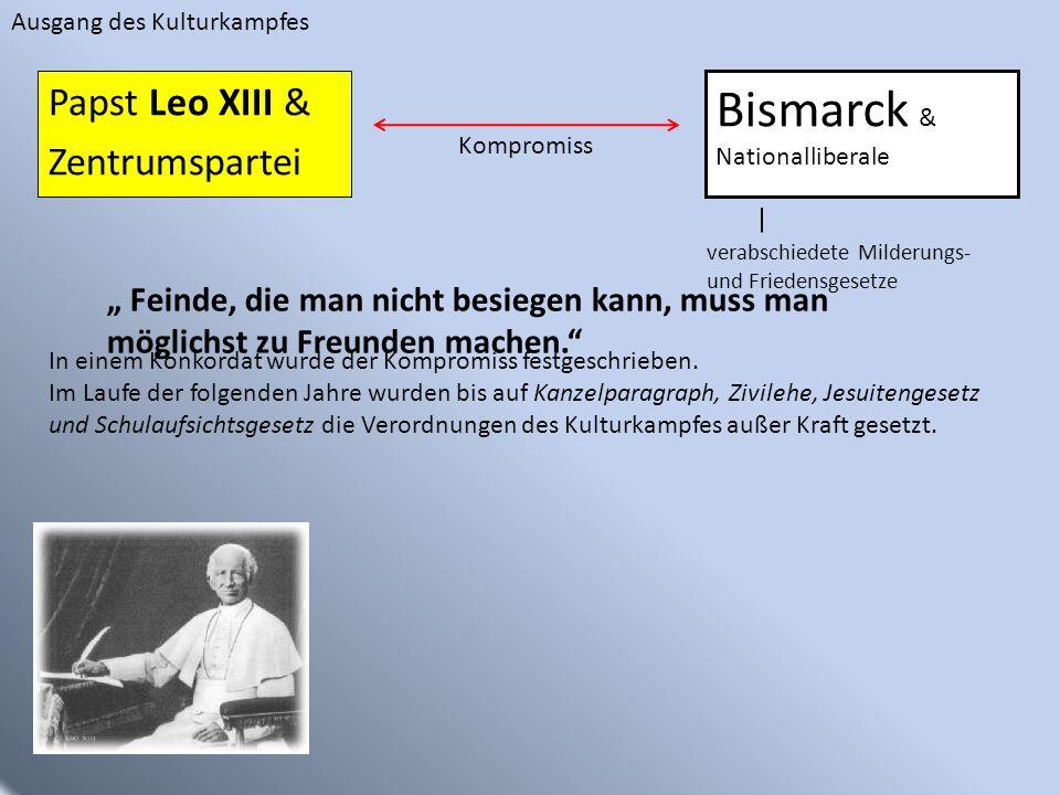 Bismarck & Papst Leo XIII & Zentrumspartei