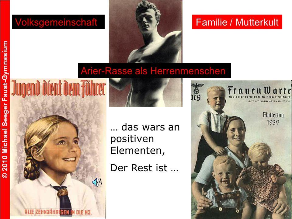 Volksgemeinschaft Familie / Mutterkult. Arier-Rasse als Herrenmenschen. … das wars an positiven Elementen,