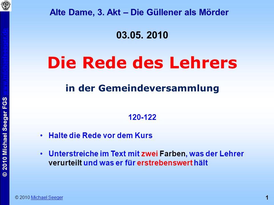 Alte Dame, 3. Akt – Die Güllener als Mörder in der Gemeindeversammlung