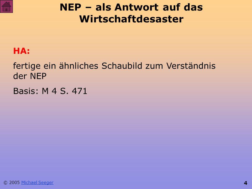 NEP – als Antwort auf das Wirtschaftdesaster