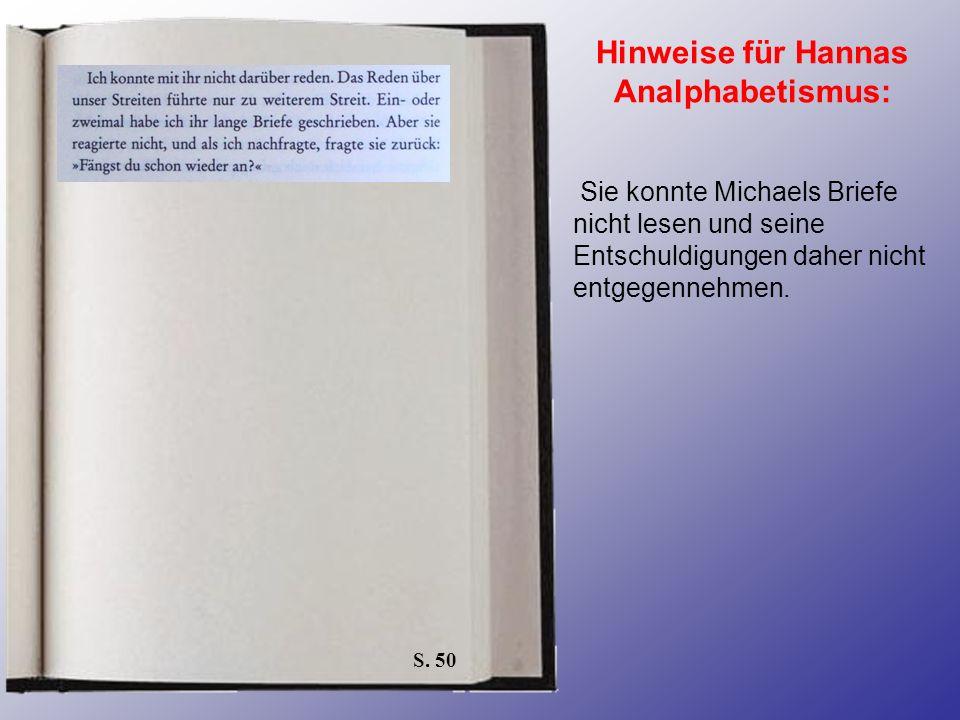 Hinweise für Hannas Analphabetismus: