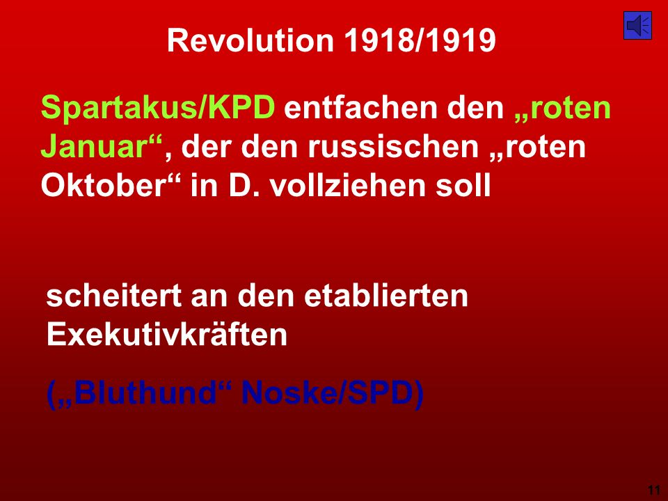 """Revolution 1918/1919 Spartakus/KPD entfachen den """"roten Januar , der den russischen """"roten Oktober in D. vollziehen soll."""