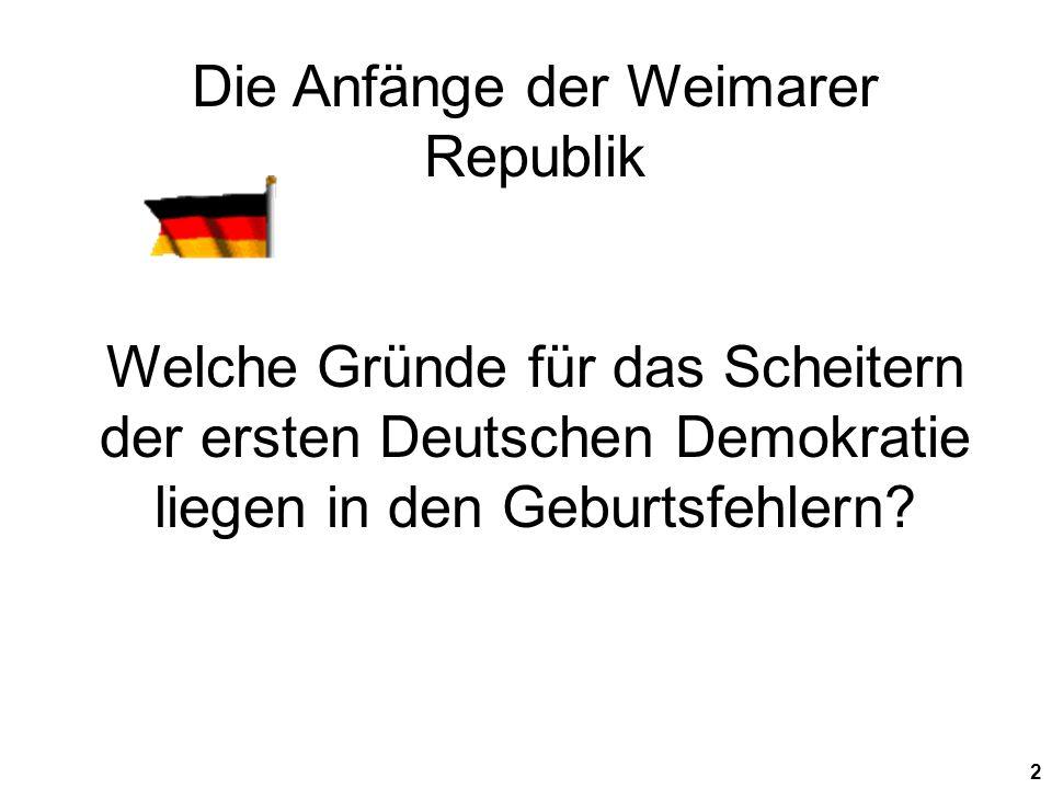 Die Anfänge der Weimarer Republik