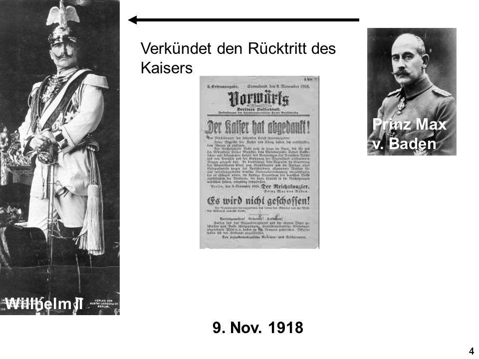 Willhelm II Prinz Max v. Baden Verkündet den Rücktritt des Kaisers 9. Nov. 1918