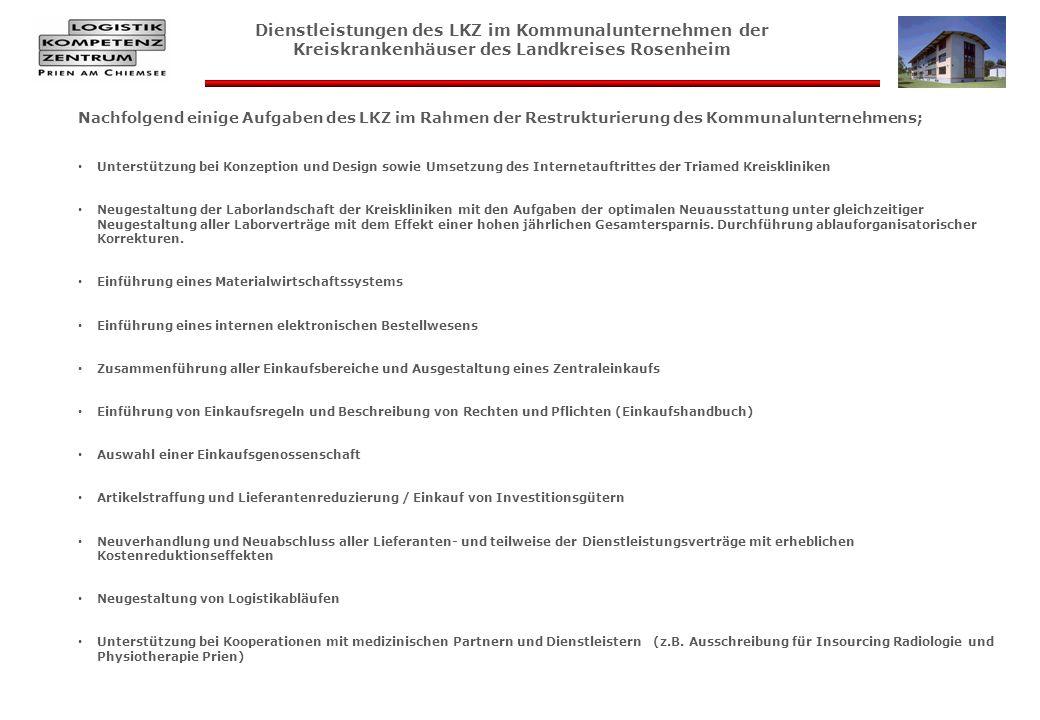 Dienstleistungen des LKZ im Kommunalunternehmen der Kreiskrankenhäuser des Landkreises Rosenheim