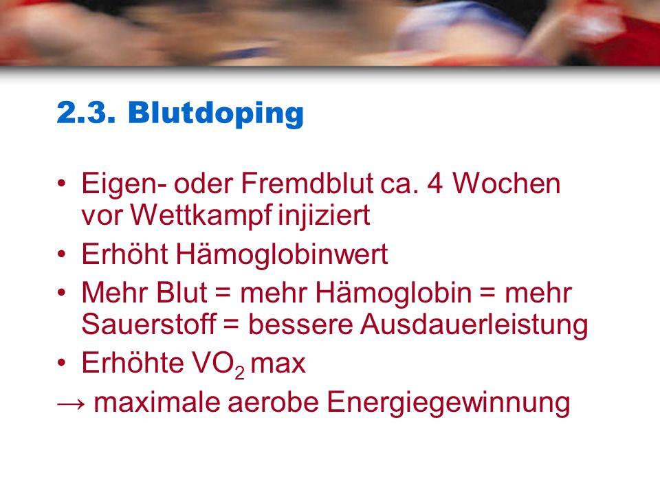 2.3. Blutdoping Eigen- oder Fremdblut ca. 4 Wochen vor Wettkampf injiziert. Erhöht Hämoglobinwert.