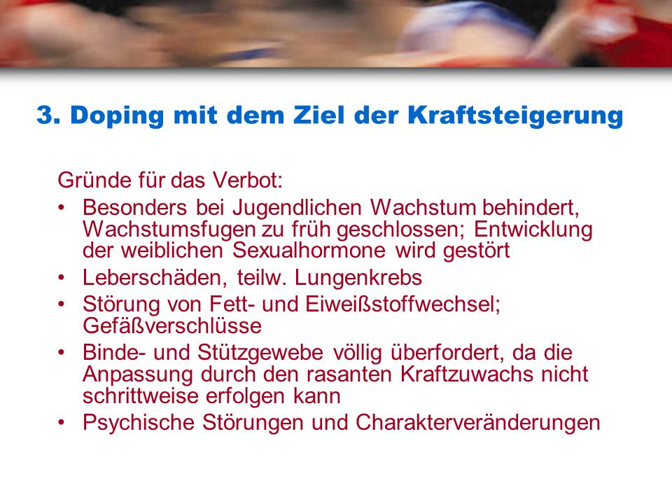 3. Doping mit dem Ziel der Kraftsteigerung