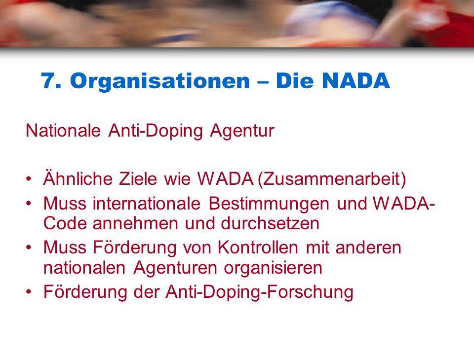 7. Organisationen – Die NADA