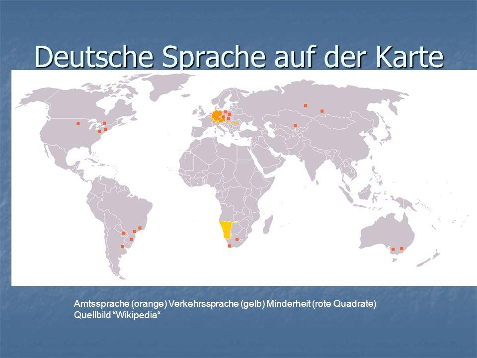 Deutsche Sprache auf der Karte