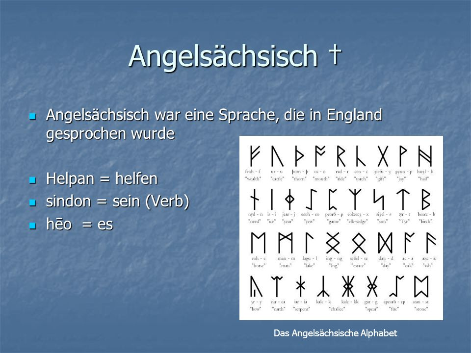 Angelsächsisch † Angelsächsisch war eine Sprache, die in England gesprochen wurde. Helpan = helfen.