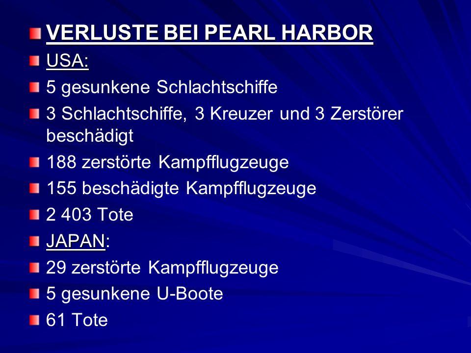 VERLUSTE BEI PEARL HARBOR