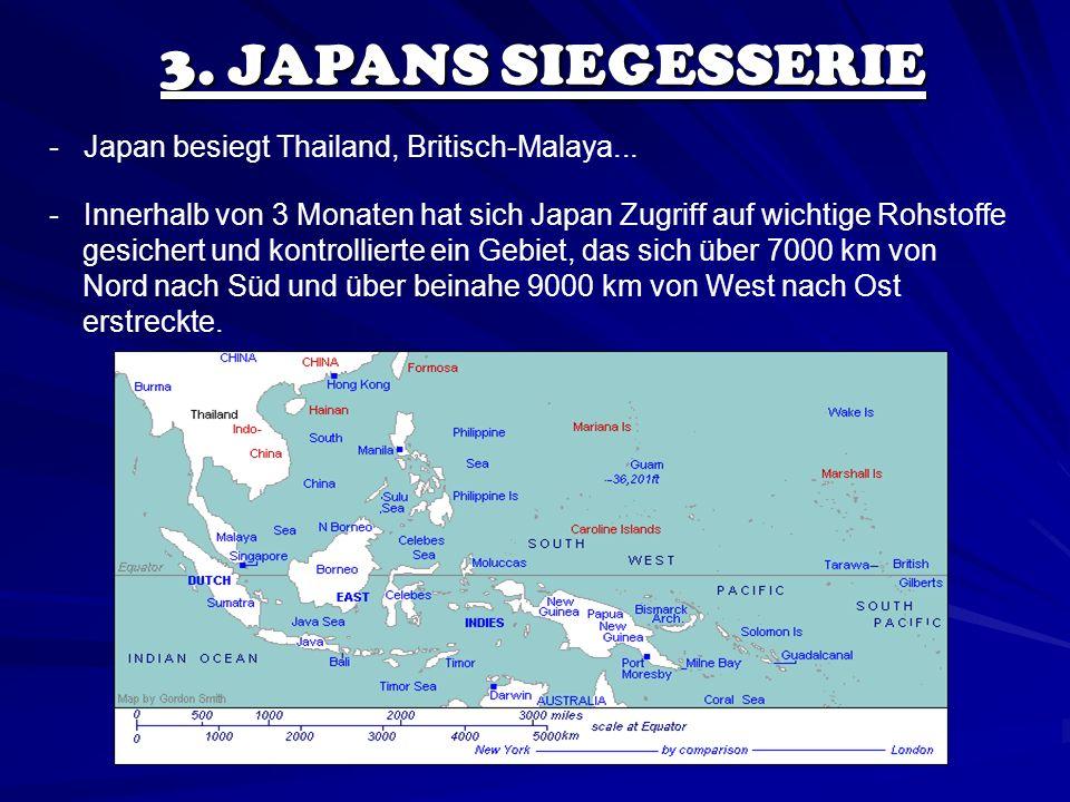 3. JAPANS SIEGESSERIE - Japan besiegt Thailand, Britisch-Malaya...