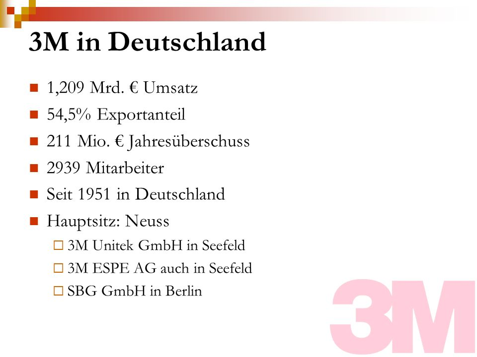 3M in Deutschland 1,209 Mrd. € Umsatz 54,5% Exportanteil