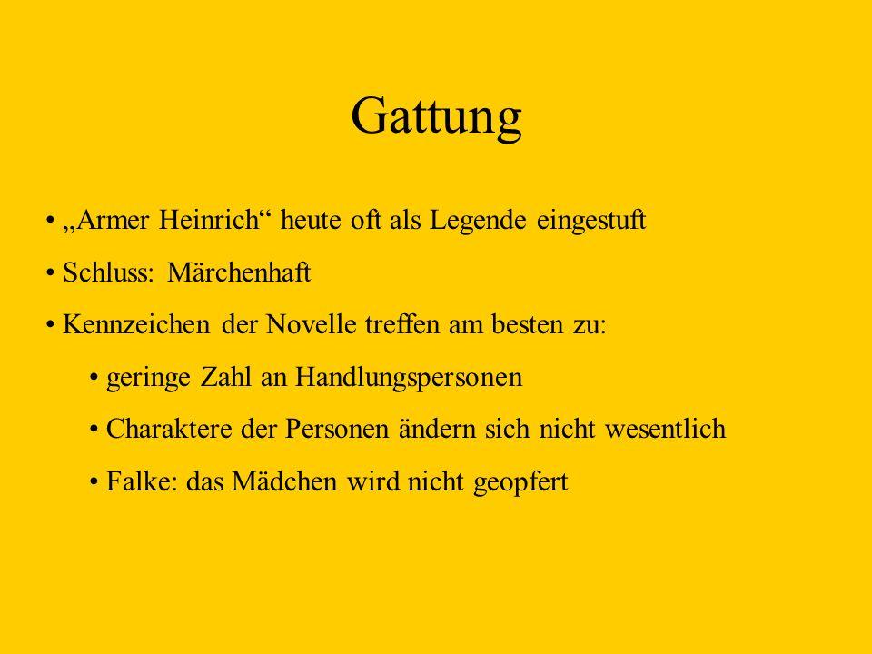 """Gattung """"Armer Heinrich heute oft als Legende eingestuft"""