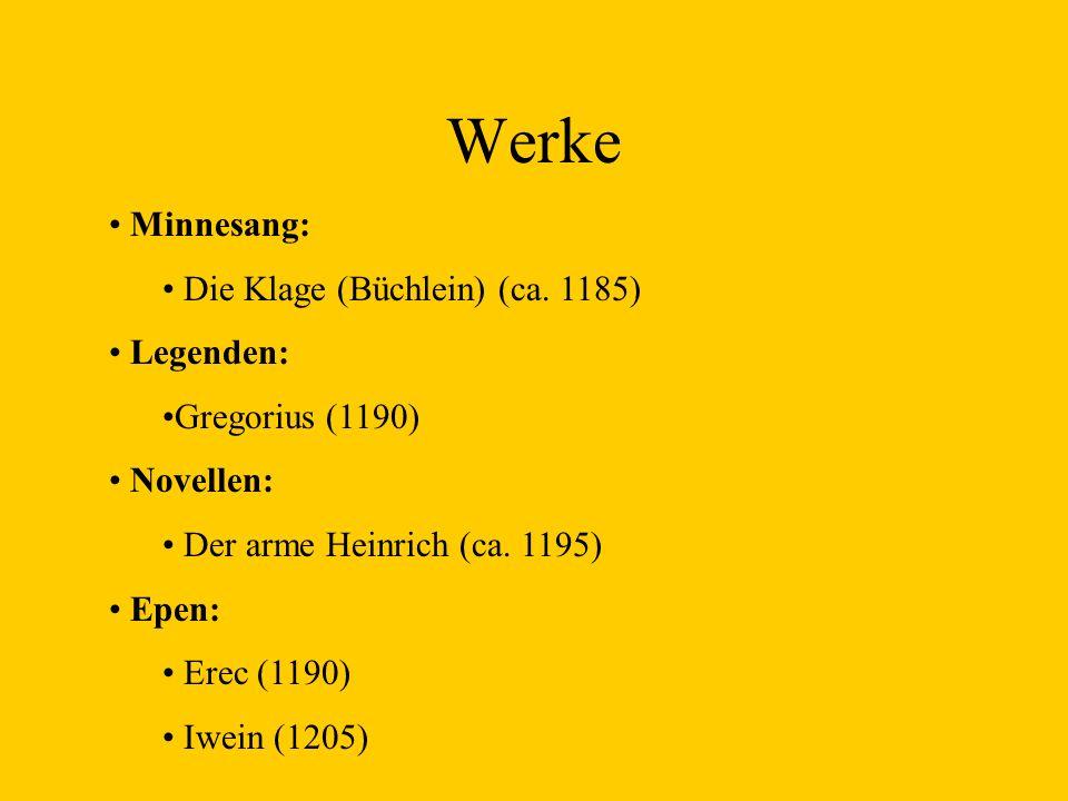 Werke Minnesang: Die Klage (Büchlein) (ca. 1185) Legenden: