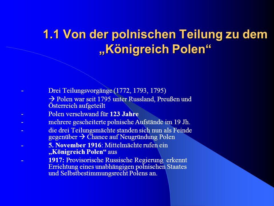 """1.1 Von der polnischen Teilung zu dem """"Königreich Polen"""