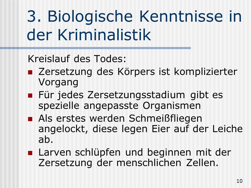 3. Biologische Kenntnisse in der Kriminalistik