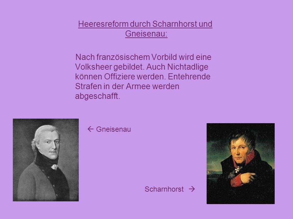 Heeresreform durch Scharnhorst und Gneisenau: