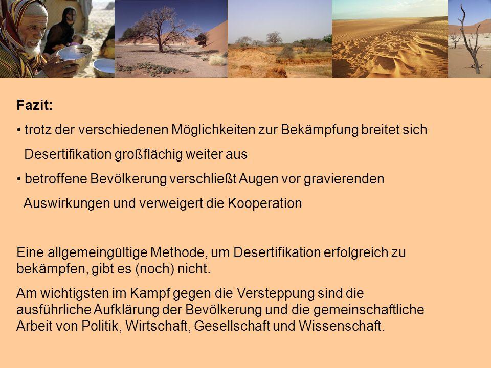 Fazit: trotz der verschiedenen Möglichkeiten zur Bekämpfung breitet sich. Desertifikation großflächig weiter aus.