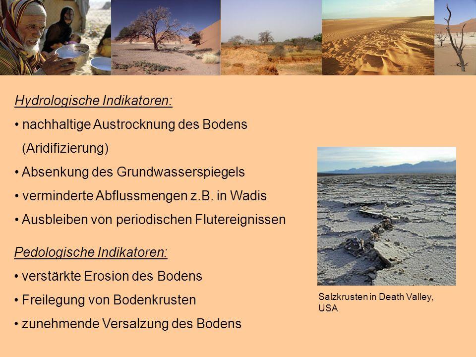 Hydrologische Indikatoren: nachhaltige Austrocknung des Bodens