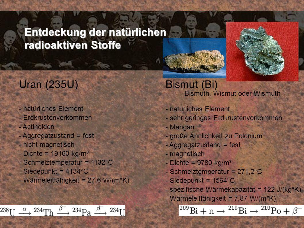 Entdeckung der natürlichen radioaktiven Stoffe