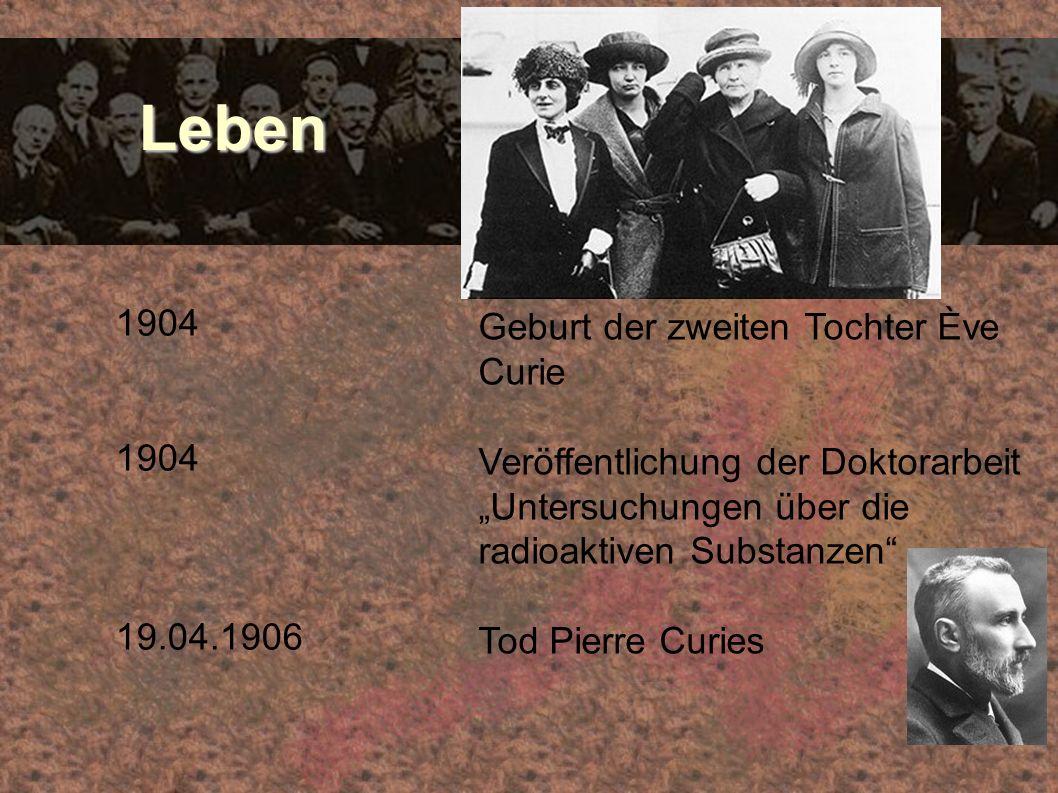 Leben 1904 Geburt der zweiten Tochter Ève Curie